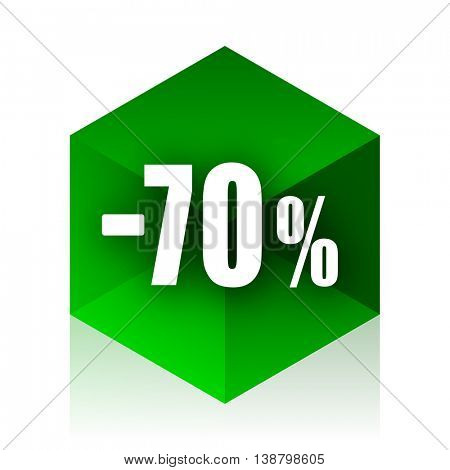 70 percent sale retail cube icon, green modern design web element