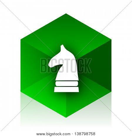 chess horse cube icon, green modern design web element