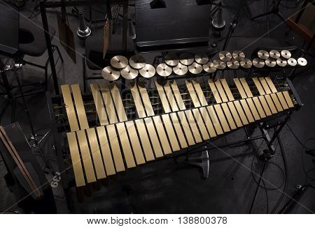 musical instruments on the stage and in the orchestra pit