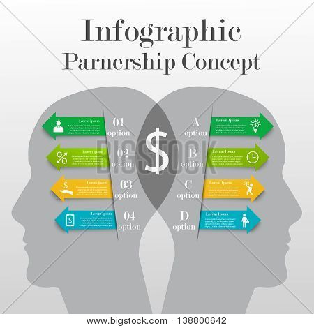 Infographic partnership concept with 4 options for each of side. Illustration of relationship between two partners involved in business. Template with icons and text for your design