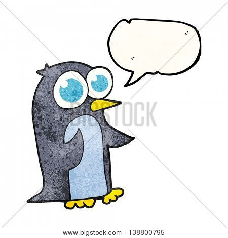 freehand speech bubble textured cartoon penguin with big eyes