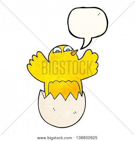 freehand speech bubble textured cartoon hatching egg