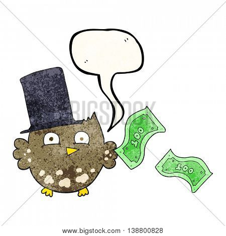 freehand speech bubble textured cartoon wealthy little owl with top hat