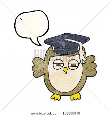 freehand speech bubble textured cartoon clever owl