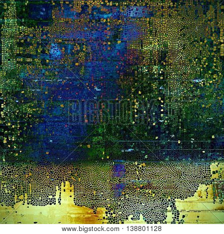 Distressed texture, faded grunge background or backdrop. With different color patterns: yellow (beige); brown; green; blue; purple (violet); cyan