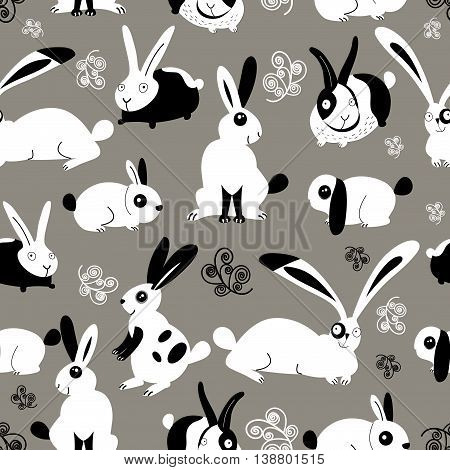 Easter beautiful graphic pattern with rabbits on gray background