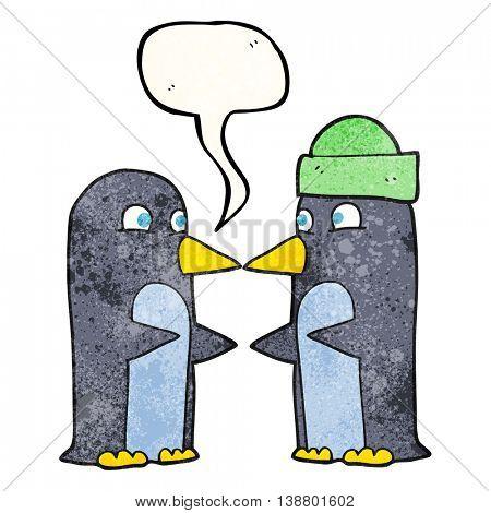 freehand speech bubble textured cartoon penguins