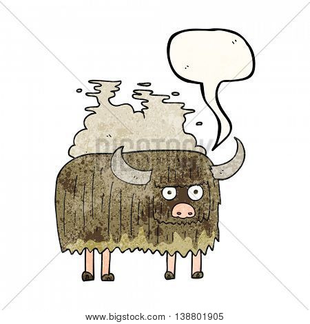 freehand speech bubble textured cartoon smelly cow