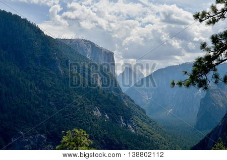 Yosemite valley with Half Dome view in summer
