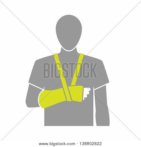 Flat icon illustration of arm bandage isolated on white background. Vector illustration