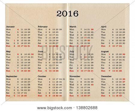 Year 2016 Calendar - United Kingdom