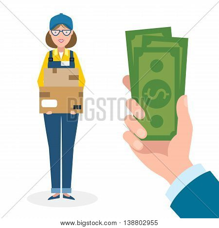 Handsome female cartoon character. Delivery woman gets money. Hand holding dollars for boxes. Happy smiling supplier or delivery aget.