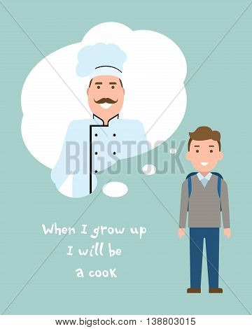 Kid wants to be a cook or chef poster. Smiling little boy chooses profession.