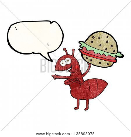 freehand speech bubble textured cartoon ant carrying food