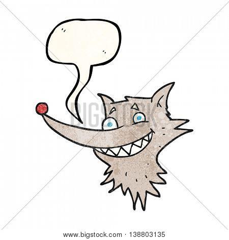 freehand speech bubble textured cartoon grinning wolf face