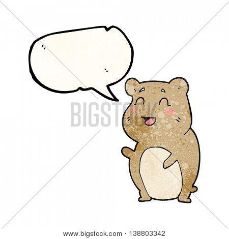 freehand speech bubble textured cartoon cute hamster