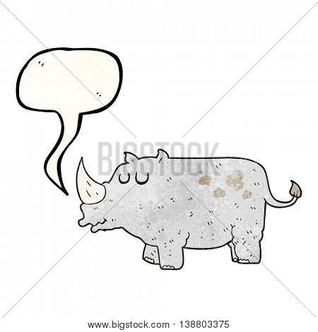 freehand speech bubble textured cartoon rhino
