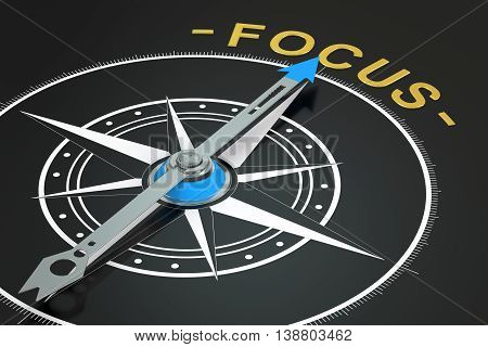 Focus with compass arrow concept 3D rendering