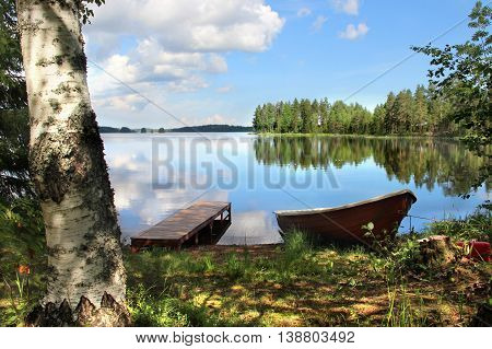 Beautiful nature of Finland, lakes and fishing