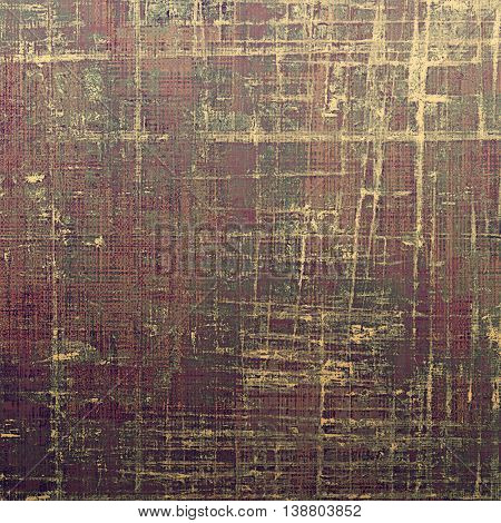 Old school frame or background with grungy textured elements and different color patterns: yellow (beige); brown; gray; purple (violet); pink