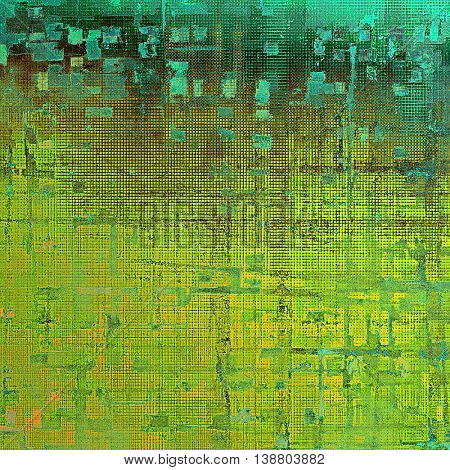 Highly detailed scratched texture, aged grungy background. Vintage style composition with different color patterns: yellow (beige); brown; green; blue; cyan