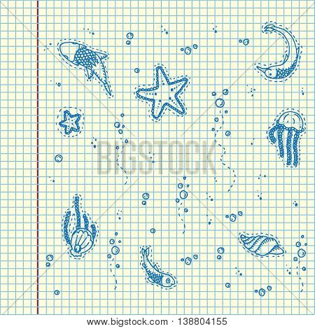 Sea underwater creatures. Hand drawn vector stock illustration. Sheet ball pen drawing.