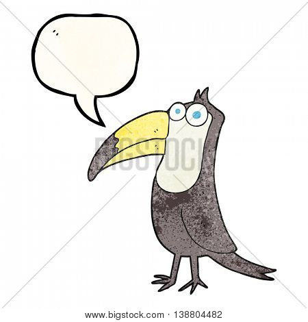 freehand speech bubble textured cartoon toucan
