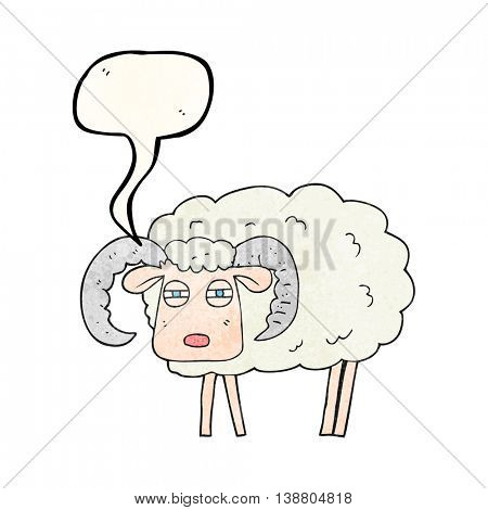 freehand speech bubble textured cartoon ram