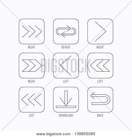 Arrows icons. Download, repeat linear signs. Next, back arrows flat line icons. Flat linear icons in squares on white background. Vector