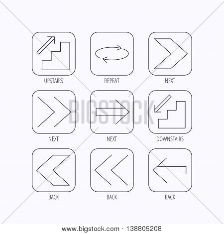 Arrows icons. Upstairs, downstairs and repeat linear signs. Next, back arrows flat line icons. Flat linear icons in squares on white background. Vector