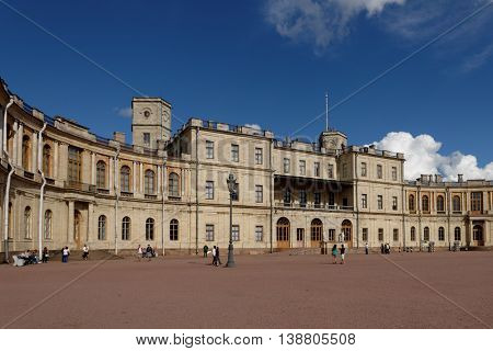 GATCHINA, ST. PETERSBURG, RUSSIA - AUGUST 30, 2015: People in front of the Gatchina palace. The palace was built in 1766-1781 by design of the Italian architect Antonio Rinaldi