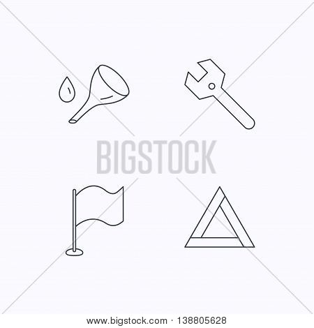 Flag pointer, emergency sign and wrench key icons. Emergency triangle, oil change linear signs. Flat linear icons on white background. Vector