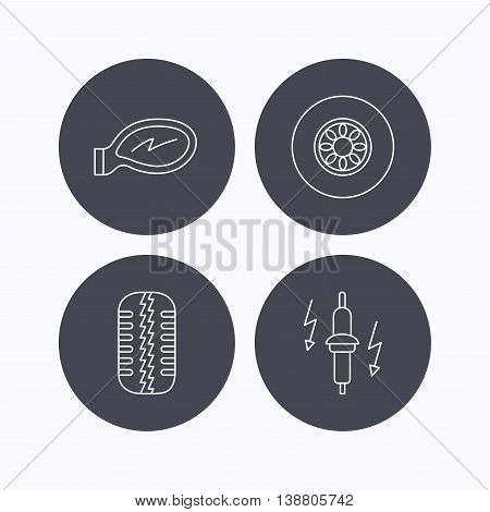 Wheel, car mirror and spark plug icons. Tire tread linear sign. Flat icons in circle buttons on white background. Vector