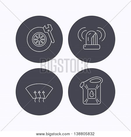 Siren alarm, tire service and jerrycan icons. Heated window linear sign. Flat icons in circle buttons on white background. Vector