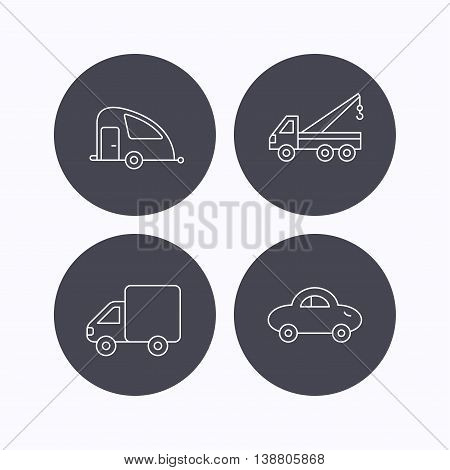 Car, delivery truck and evacuator icons. Travel van linear signs. Flat icons in circle buttons on white background. Vector