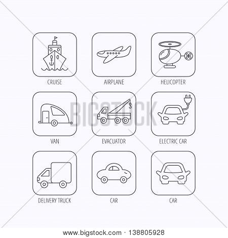 Transportation icons. Car, ship and truck linear signs. Airplane, helicopter and evacuator flat line icons. Flat linear icons in squares on white background. Vector