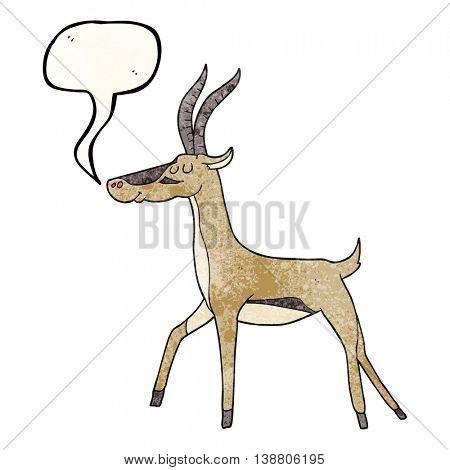 freehand speech bubble textured cartoon gazelle