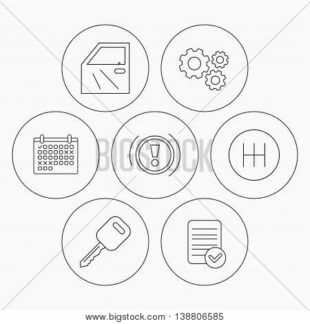 Car key, warning and manual gearbox icons. Car door, transmission linear signs. Check file, calendar and cogwheel icons. Vector