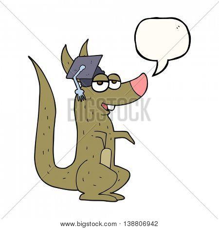 freehand drawn speech bubble cartoon kangaroo with graduation cap