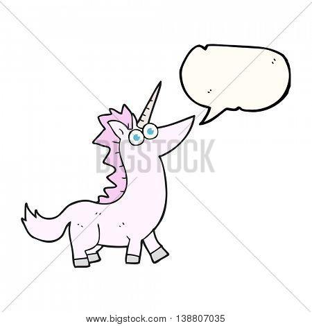 freehand drawn speech bubble cartoon unicorn