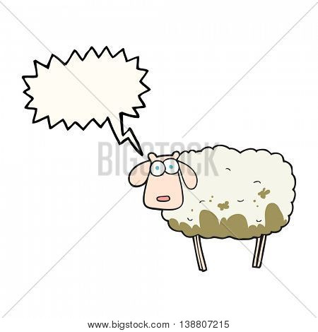 freehand drawn speech bubble cartoon muddy sheep