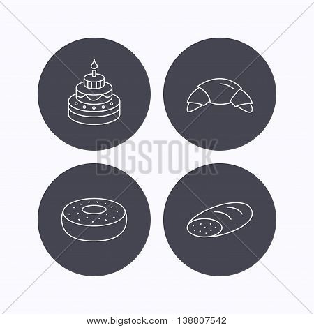 Croissant, cake and bread icons. Sweet donut linear sign. Flat icons in circle buttons on white background. Vector