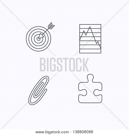 Puzzle, graph charts and target icons. Safety pin linear sign. Flat linear icons on white background. Vector