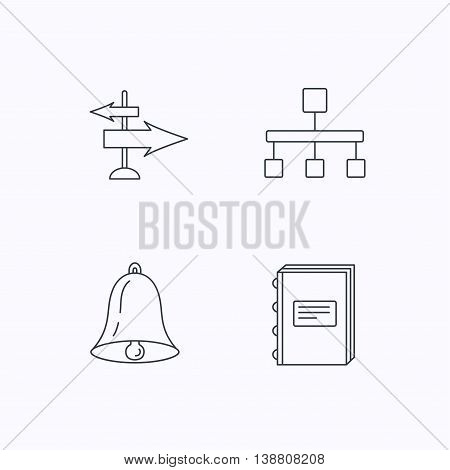 Book, hierarchy and direction arrows icons. Alarm bell linear sign. Flat linear icons on white background. Vector