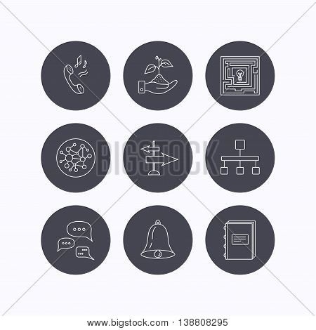 Conversation, global network and direction icons. Save nature, maze and book linear signs. Bell and phone ringtone flat line icons. Flat icons in circle buttons on white background. Vector