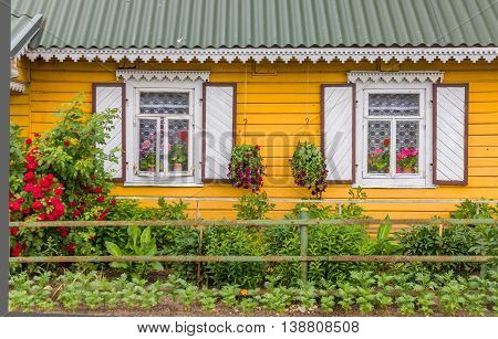 Detail of a traditional Lituanian wooden house in Aukstaitija National Park