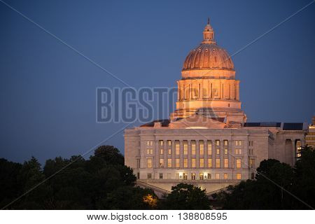 Jefferson City Missouri Capital Building Downtown City Skyline