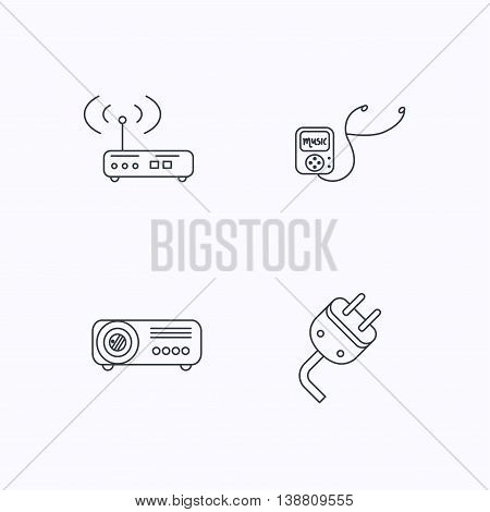 Electric plug, wi-fi router and projector icons. Music player linear sign. Flat linear icons on white background. Vector