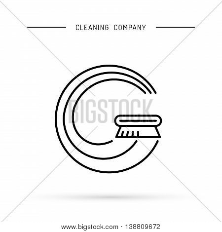 The logo of the cleaning company is drawn in the form of Bucky With and brushes for washing. Vector logo