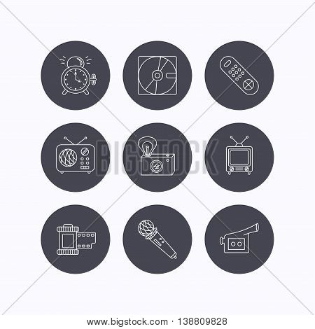 Microphone, video camera and photo icons. Alarm clock, retro radio and TV remote linear signs. Flat icons in circle buttons on white background. Vector